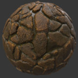 Rough Wet Cobble PBR Material